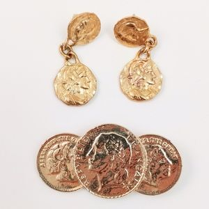 Vintage Greco-Roman Door Knocker Earrings & Brooch